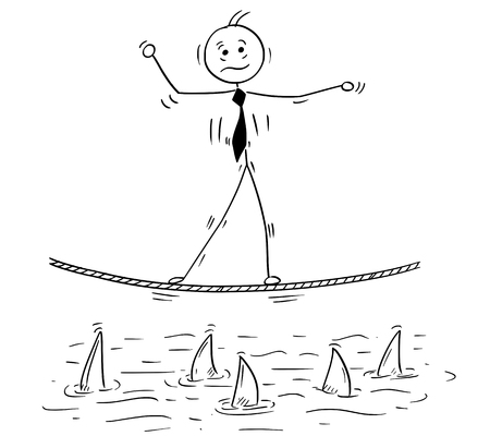 Cartoon stick man drawing conceptual illustration of business man balancing walking on tightrope rope above shark water.