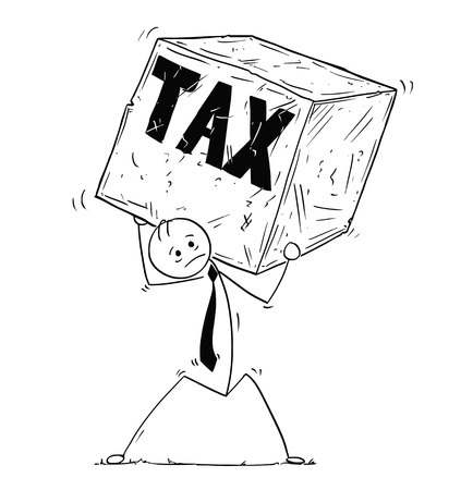 Cartoon stick man drawing conceptual illustration of businessman carrying big block of stone of rock. Concept of business stress from tax.