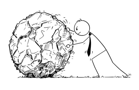 Cartoon stick man drawing conceptual illustration of businessman rolling large rock. Concept of hard business task.