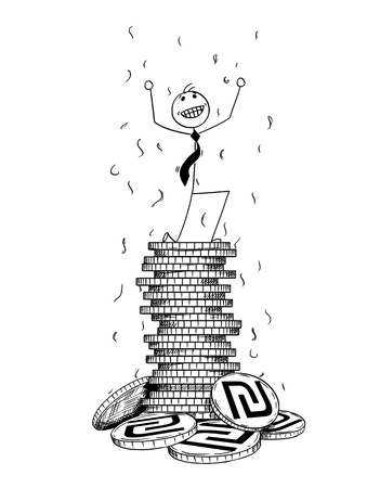 Cartoon stick man drawing conceptual illustration of businessman enjoying or celebrating on pile or stack of shekel coins. Concept of business success. Vettoriali