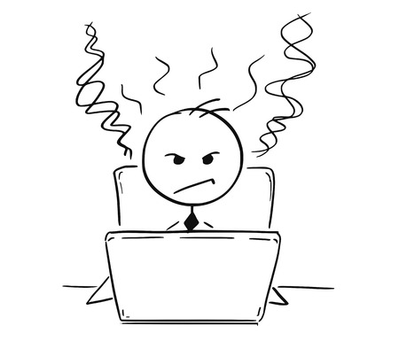 Cartoon stick man drawing illustration of businessman or student tired and angry working on computer laptop notebook. Stock Illustratie