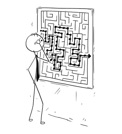 Cartoon stick man concept drawing illustration of businessman looking at maze on wall board poster.