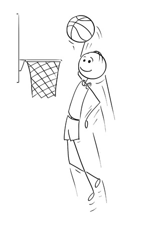 Cartoon stick man drawing illustration of basketball player jumping and scoring goal. Illustration