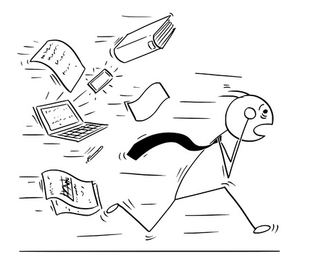 Cartoon stick man concept drawing illustration of overworked tired businessman running away chased by office paper work. Concept of business overworking stress.