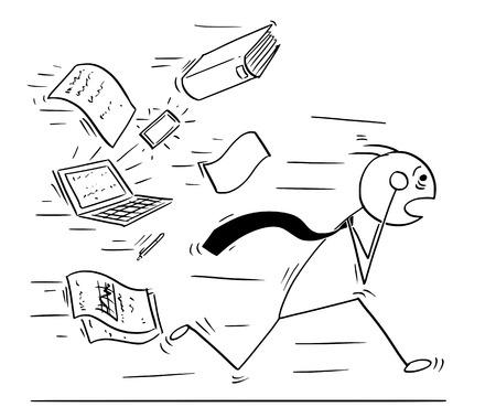Ejemplo del dibujo del concepto del hombre del palillo de la historieta del hombre de negocios cansado con exceso de trabajo que huye perseguido por el trabajo de papel de la oficina. Concepto de estrés empresarial exceso de trabajo.