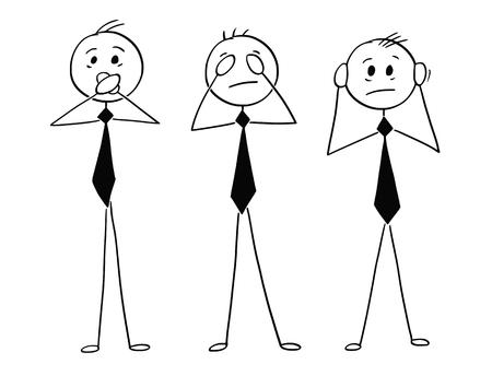 Cartoon stick man dibujo ilustración conceptual de tres hombres de negocios que no ven mal, no oyen mal y no hablan mal. Inspirado en la leyenda de los tres monos sabios.