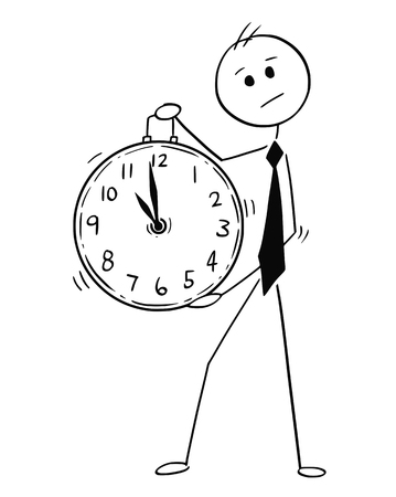 Cartoon stick man drawing conceptual illustration of businessman holding large clock. Business concept of time management.