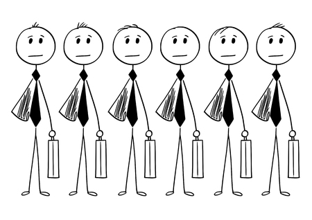 Cartoon stick man drawing conceptual illustration of crowd of identical businessman or clerk clones produced in mass without personality. Vektoros illusztráció