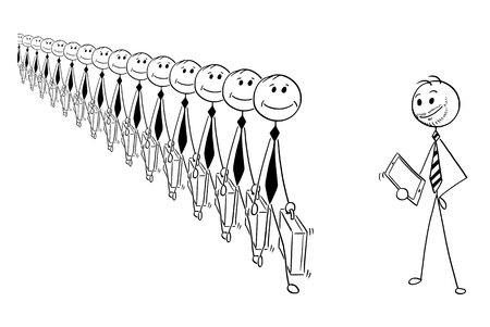 Cartoon stick man drawing conceptual illustration of crowd of identical businessmen or clerks clones produced in mass, and modern creative businessman. Business concept of individuality. Illustration