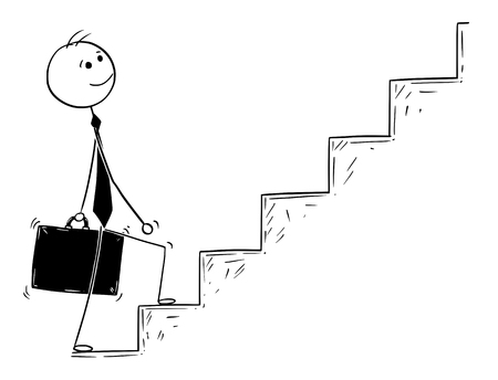 Cartoon stick man drawing conceptual illustration of businessman ready to walk or climb the stairs . Business concept of success and career.