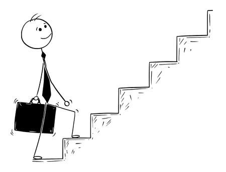 Homme de bande dessinée dessin illustration conceptuelle d'homme d'affaires prêt à marcher ou à monter les escaliers. Concept d'entreprise de succès et de carrière. Vecteurs