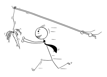 Cartoon stick man drawing conceptual illustration of businessman pursue or chase after carrot illusion or delusion of money. Business concept of greed.