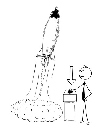 Cartoon stick man drawing conceptual illustration of businessman launching rocket. Business concept of success, company or career start up.