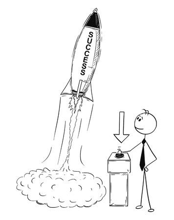 Cartoon stokmens tekening conceptuele illustratie van zakenman lancering raket. Bedrijfsconcept succes, bedrijf of carrière opstarten.