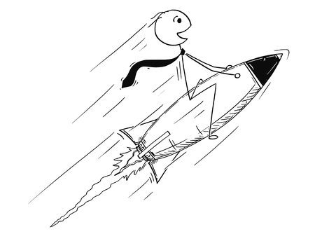 Cartoon stick man drawing conceptual illustration of businessman driving rocket on his way to success.