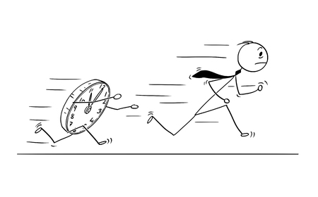 Cartoon stick man drawing conceptual illustration of businessman running from large clock. Business concept of rushing for deadline. Stock Illustratie