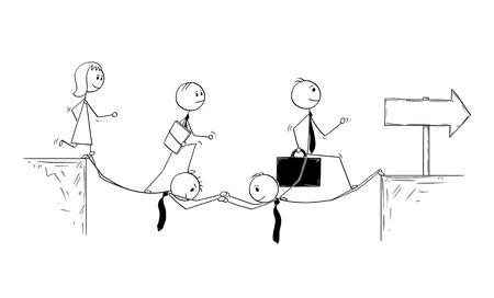 Cartoon stokmens die conceptuele illustratie van twee zakenliedenoffer trekken om brug te bouwen om team toe te staan om te slagen. Bedrijfsconcept van teamwerk.