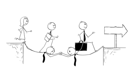 Cartoon stick man drawing conceptual illustration of two businessmen sacrifice to build bridge to allow team to succeed. Business concept of teamwork.