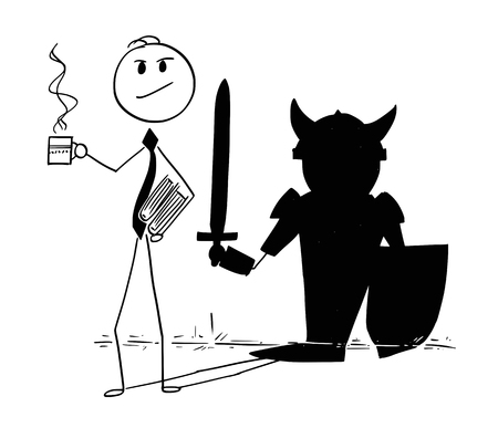 Cartoon stick man drawing conceptual illustration of confident businessman with coffee or tea cup and office files, and hero heroic knight warrior shadow on the wall.