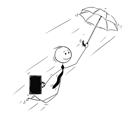 Cartoon stick man drawing conceptual illustration of businessman flying on umbrella. Business concept of creativity and individuality.