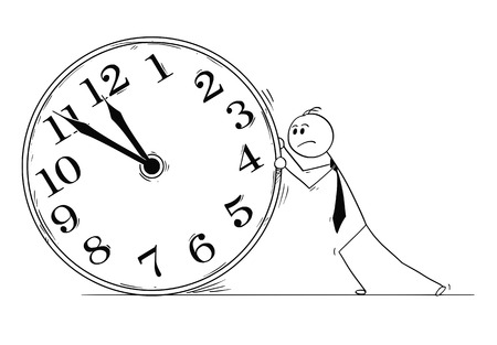 Cartoon stick man drawing conceptual illustration of overworked businessman pushing big clock. Business concept of deadline and working overtime. Illustration