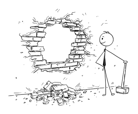 Cartoon stick man drawing conceptual illustration of businessman using hammer to break hole in the wall. Business concept of removing obstacles and looking for opportunities. Vectores