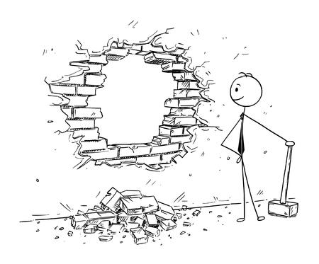 Kreskówka kij mężczyzna rysunek koncepcyjny ilustracja biznesmen za pomocą młotka, aby wybić dziurę w ścianie. Koncepcja biznesowa usuwania przeszkód i szukania okazji. Ilustracje wektorowe