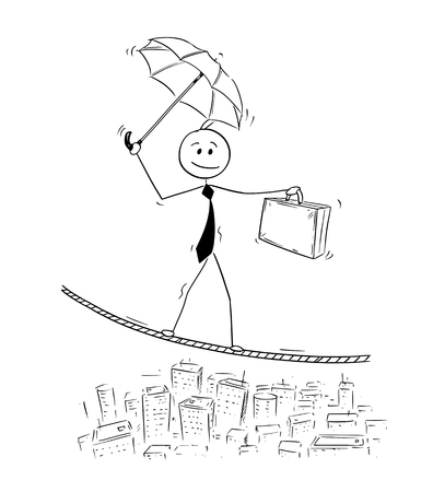 Cartoon stick man drawing conceptual illustration of businessman balancing on rope over the city