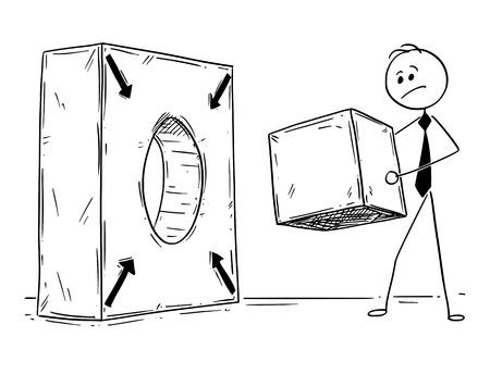 Hombre del palillo de la historieta que dibuja el ejemplo conceptual del encargado del hombre de negocios con forma del cubo y el agujero del cilindro. Concepto de negocio de resolución de problemas.