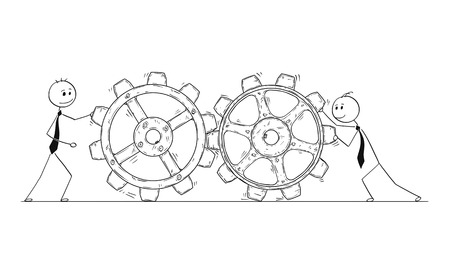 Cartoon stick man drawing conceptual illustration of two businessmen pushing cogwheels gear. Business concept of teamwork.