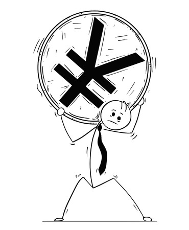 Cartoon stick man drawing conceptual illustration of businessman carry big Yen or Yuan coin on his shoulders.