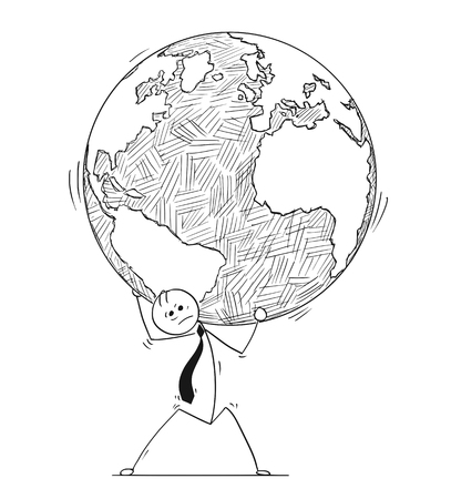 Cartoon stick man drawing conceptual illustration of businessman carry weight of the world Earth globe on his shoulders. Concept of global or international business issues.