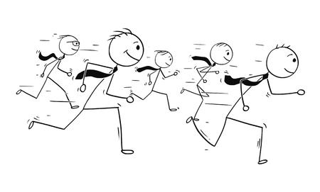 5人のビジネスマンやビジネスマンのチームワークやランニングコンペティションの概念図を描く漫画スティックマン。