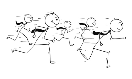 Cartoon stick man drawing conceptual illustration of five businessmen or business people teamwork or running competition race. Reklamní fotografie - 93627176
