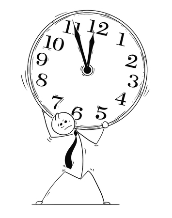 Cartoon stick man drawing conceptual illustration of overworked, stressed and tired businessman carry large clock.