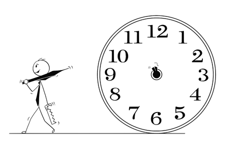 Cartoon stick man drawing conceptual illustration of businessman who removed clock hands to stop time. Business concept of deadline and stress. Illustration