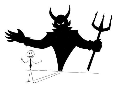 Karikaturstockmann, der Begriffsillustration des Geschäftsmannes und seines Teufels innerhalb des Schattens auf der Wand zeichnet. Geschäftskonzept von Erfolg und Selbst Rücksichtslosigkeit.