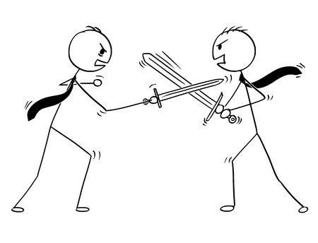 Cartoon stick man drawing conceptual illustration of two businessmen arguing and sword fighting. Business concept of problem discussion.