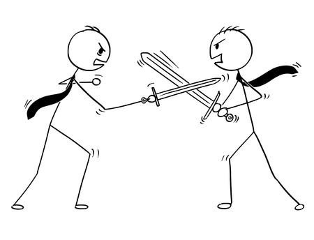 Karikaturstockmann, der Begriffsillustration von zwei argumentierenden Geschäftsmännern und von Schwertkämpfen zeichnet. Geschäftskonzept der Problemdiskussion.
