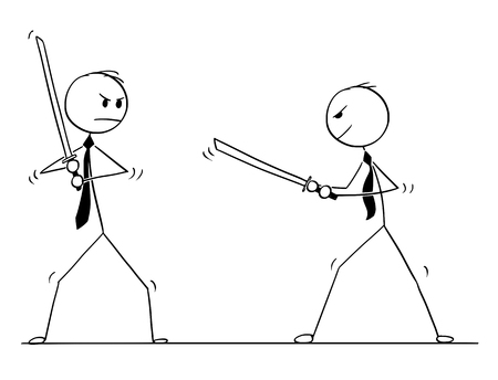 Cartoon stick man drawing conceptual illustration of two samurai businessmen ready to fight with Japanese katana swords. Illustration