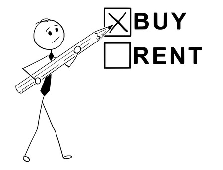 Cartoon stick man drawing concept illustration of businessman with large pencil doing buy or rent decision.