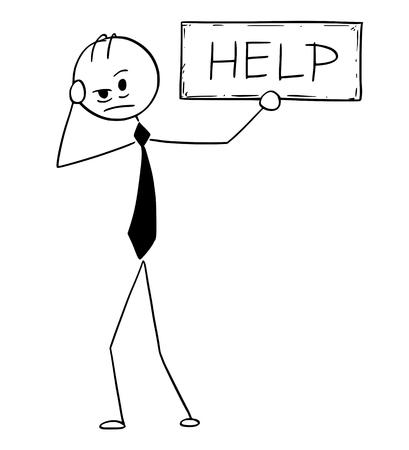 漫画スティック男描き下ろし概念イラストは、ヘルプテキスト記号を保持している落ち込んだり疲れたビジネスマンのイラスト