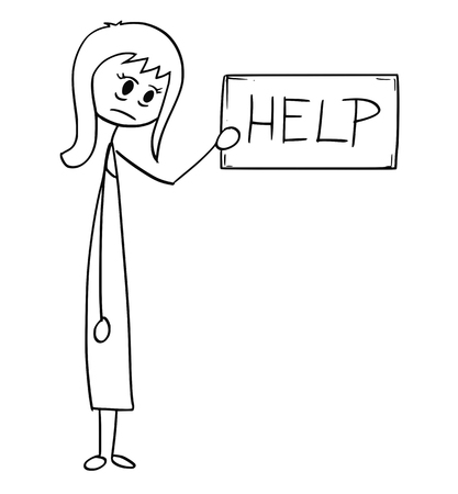 Cartoon stick man drawing conceptual illustration of depressed or tired businesswoman or woman holding help text sign. Business concept of exhaustion and tiredness. Stock Illustratie