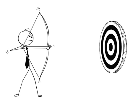 Cartoon stick man drawing conceptual illustration of businessman with bow shooting at target or clout. Business concept of motivation and determination. Иллюстрация