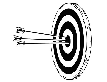 Cartoon drawing conceptual illustration of target, dartboard or clout with three bow arrows hits in center. Concept of success in business.