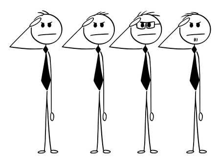 Cartoon stick man drawing conceptual illustration of business team saluting in military style. Business concept of loyalty, readiness and obedience. Vettoriali