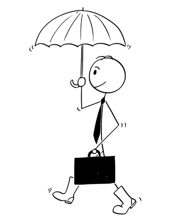 Cartoon stick man drawing conceptual illustration of businessman with umbrella and rubber or gum high boots. He is ready for financial crisis.