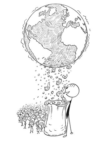 Cartoon stick man drawing conceptual illustration of uneven world global wealth income distribution between rich and poor. Concept of poverty and riches.