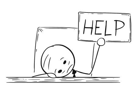 Karikaturstockmann, der Begriffsillustration des deprimierten, müden oder überarbeiteten Geschäftsmannes mit Kopf auf dem Tisch und Hilfszeichen zeichnet. Konzept des Ausbrennens oder der Probleme und der Mühen.