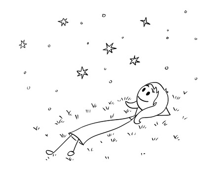 Cartoon stick man drawing conceptual illustration of businesswoman or woman or girl lying on grass and watching night sky with stars. Business concept of dream and relaxation. Illustration